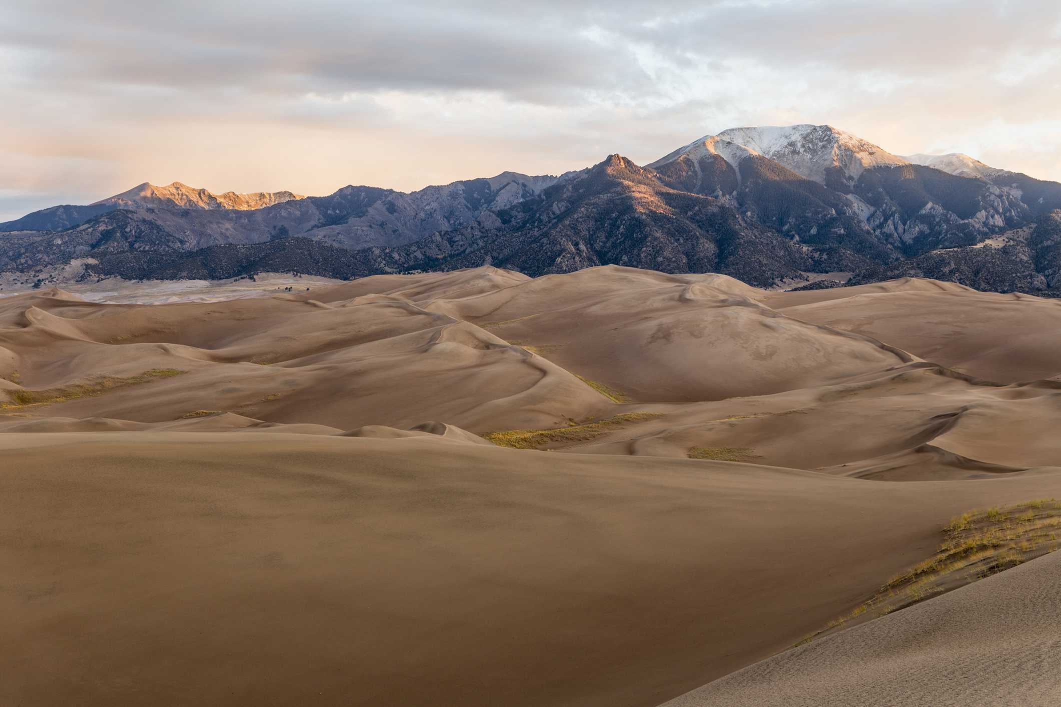 Great Sand Dunes National Park with view of Sangre de Cristo Mountains at sunrise