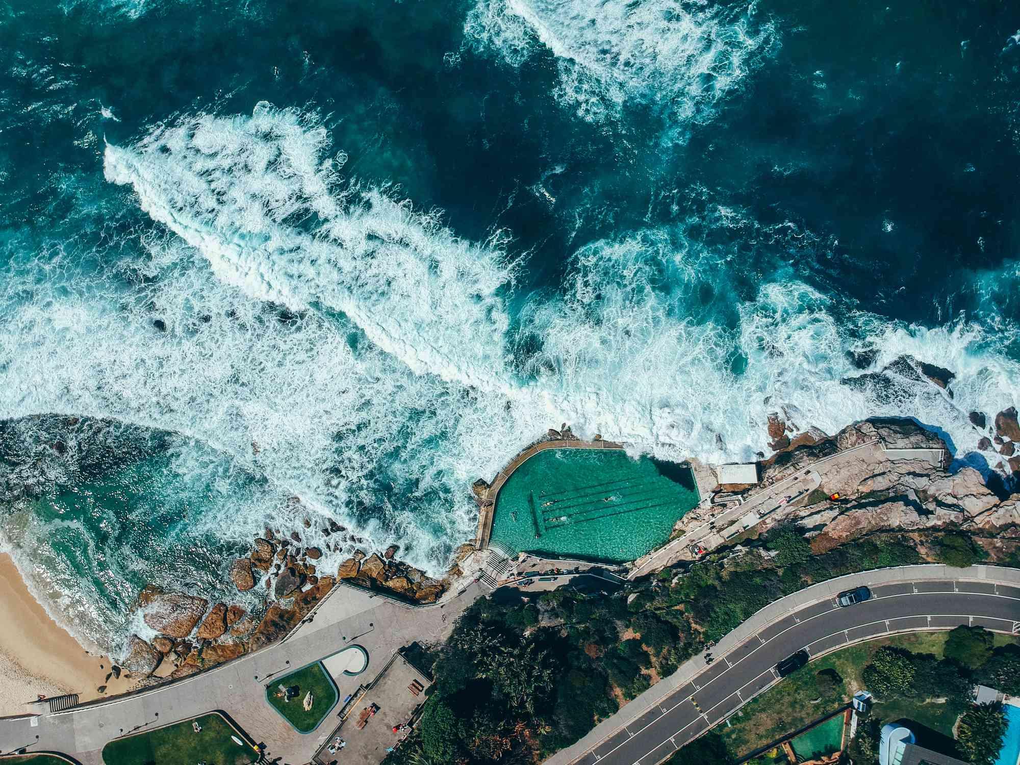 Aerial view of Bronte ocean pool