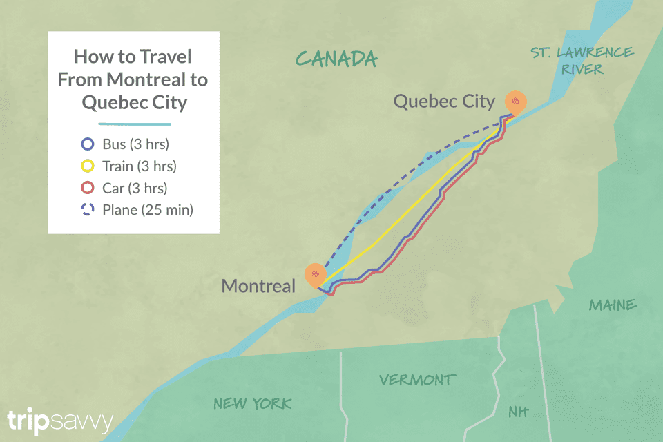 Map Of Canada Quebec Montreal.Options For Getting From Montreal To Quebec City