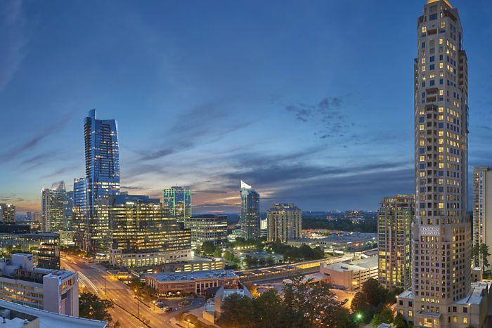 The Buckhead, Atlanta skyline at dusk