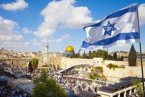 Jerusalem old city Western Wall with Israeli flag