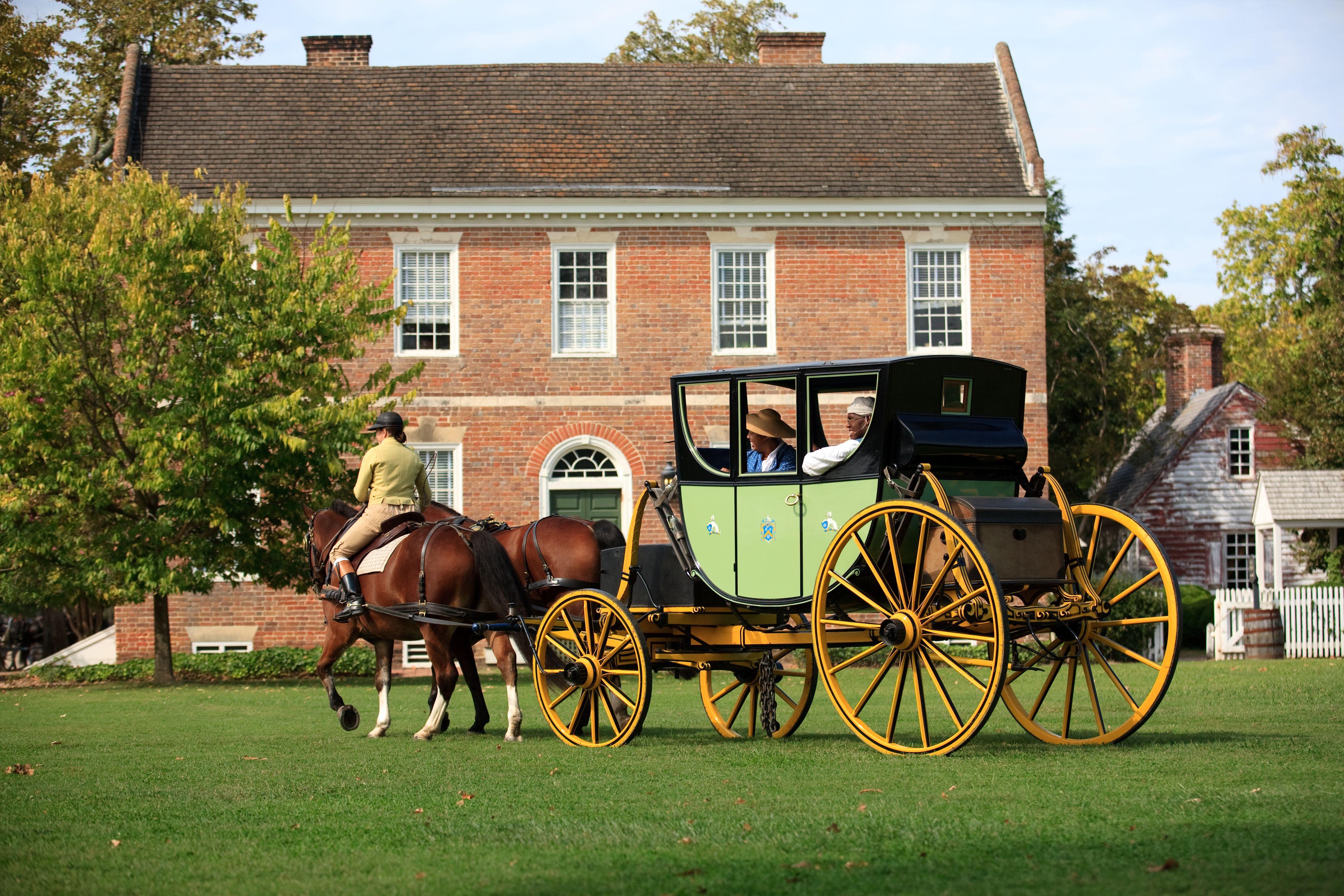 Colonial era horse drawn carriage