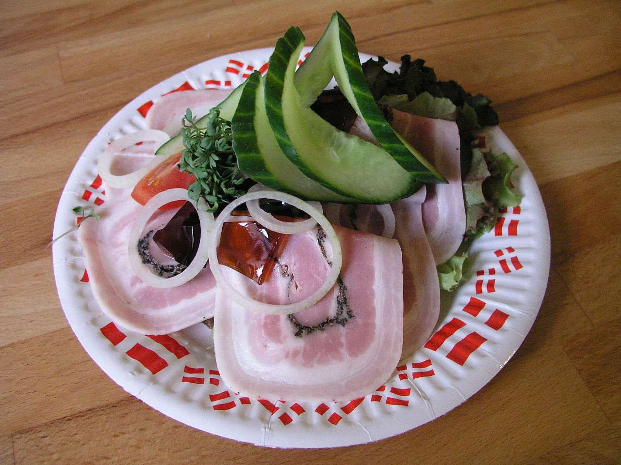 Rullepolse served as part of an open-faced sandwich