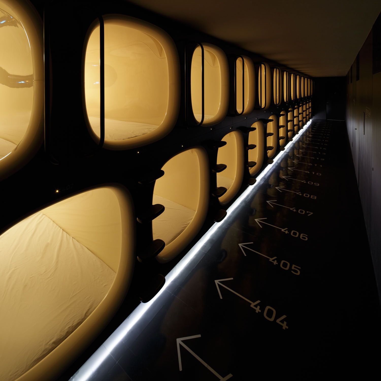 Close quarters: Nine Hours' capsule beds at its Kyoto hotel.