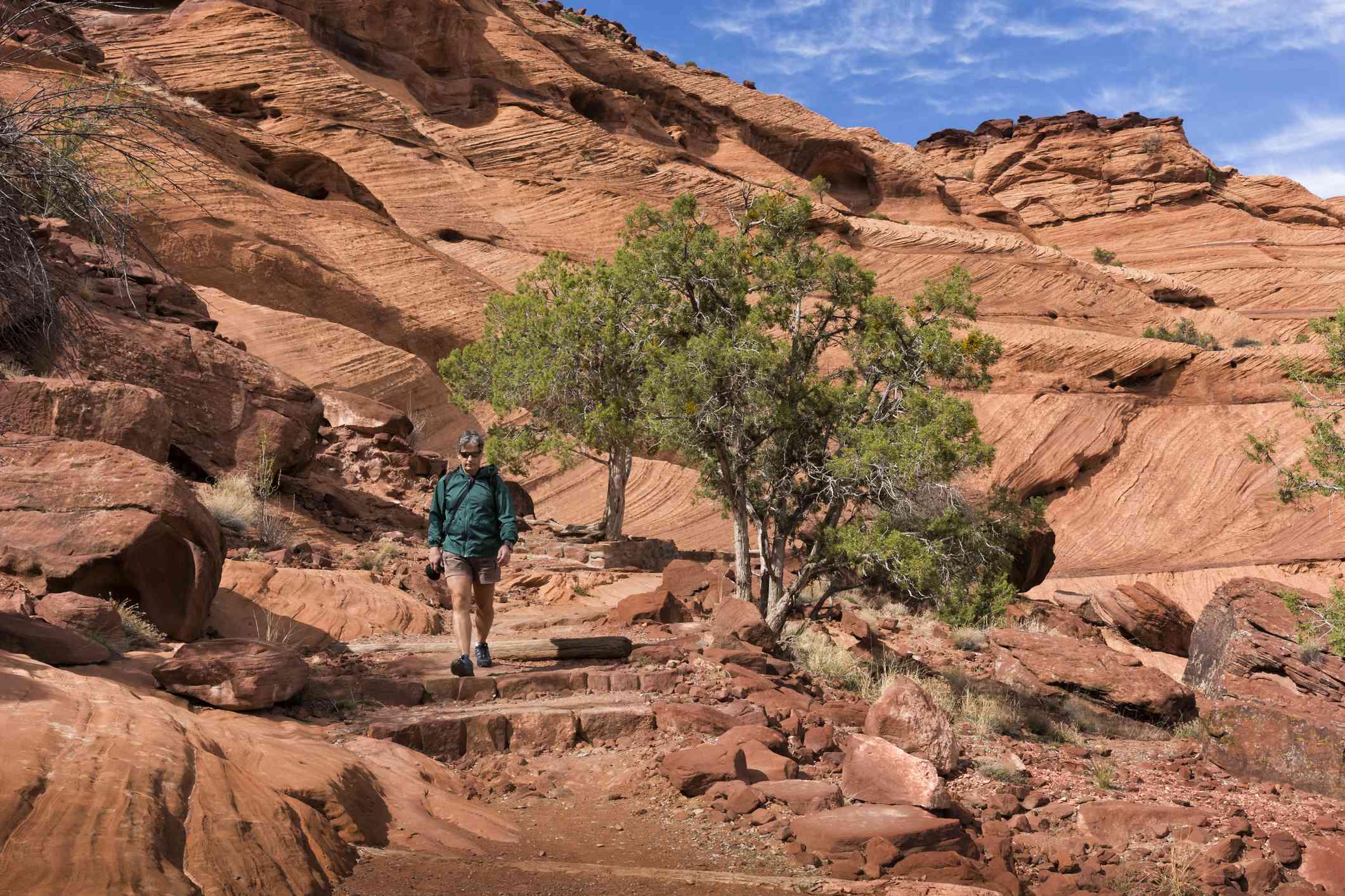 Man hiking Canyon de Chelly