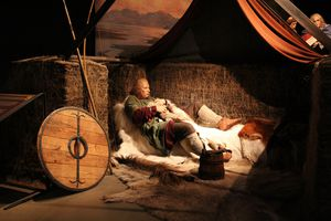 A wax figure depicting life in the early days of Iceland at the Sagamuseum in Reykjavik.
