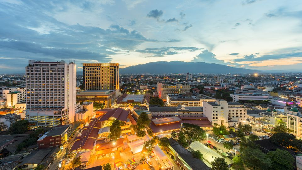 Night view of Chiangmai Cityscape with Doi Suthep, Chiangmai ,Thailand.