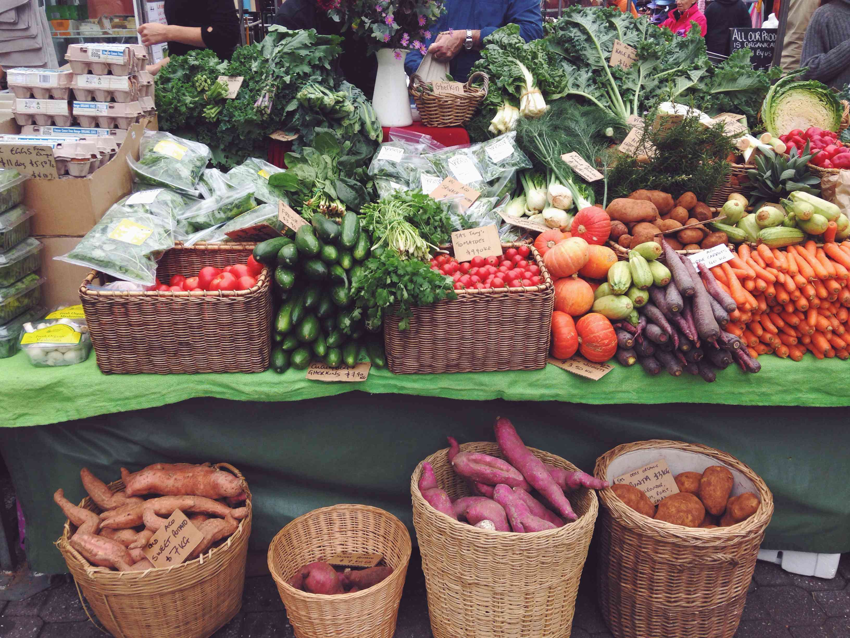 Colorful fresh produce at local market