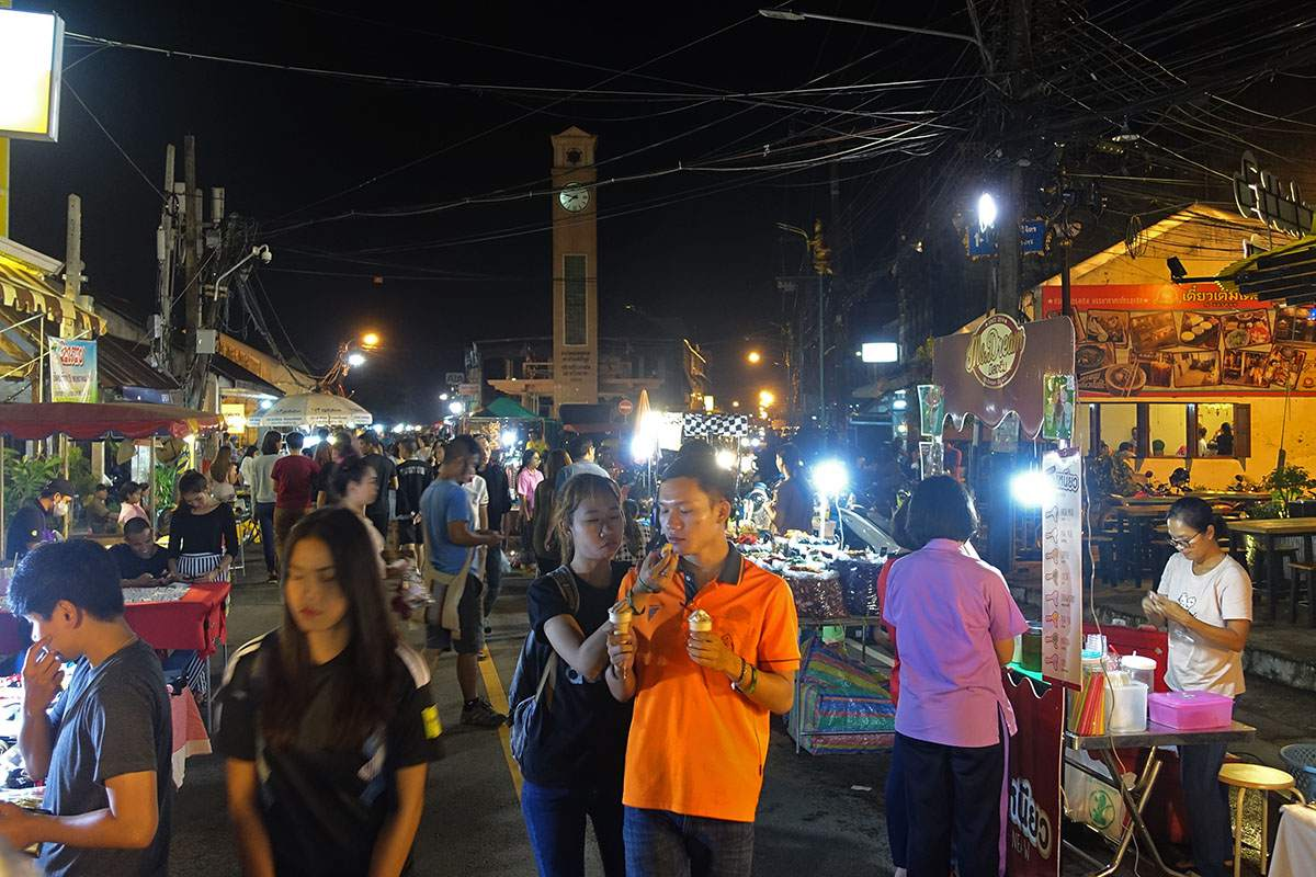 Nakhon Phanom Night Market, with Clock Tower in distance
