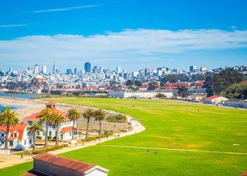 San Francisco skyline with Crissy Field, California, USA
