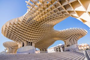 Photograph of the wooden Metropol Parasol from below