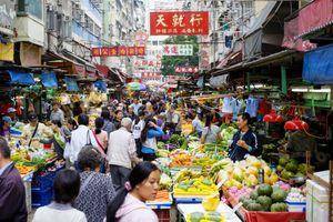 A busy market in Hong Kong