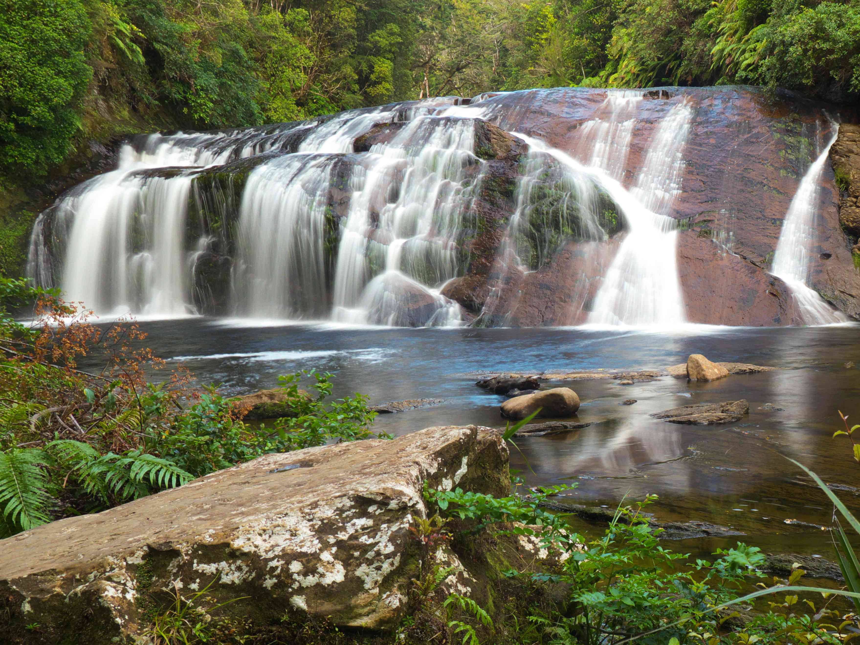 tiered waterfalls falling into a pool surrounded by green shrubs