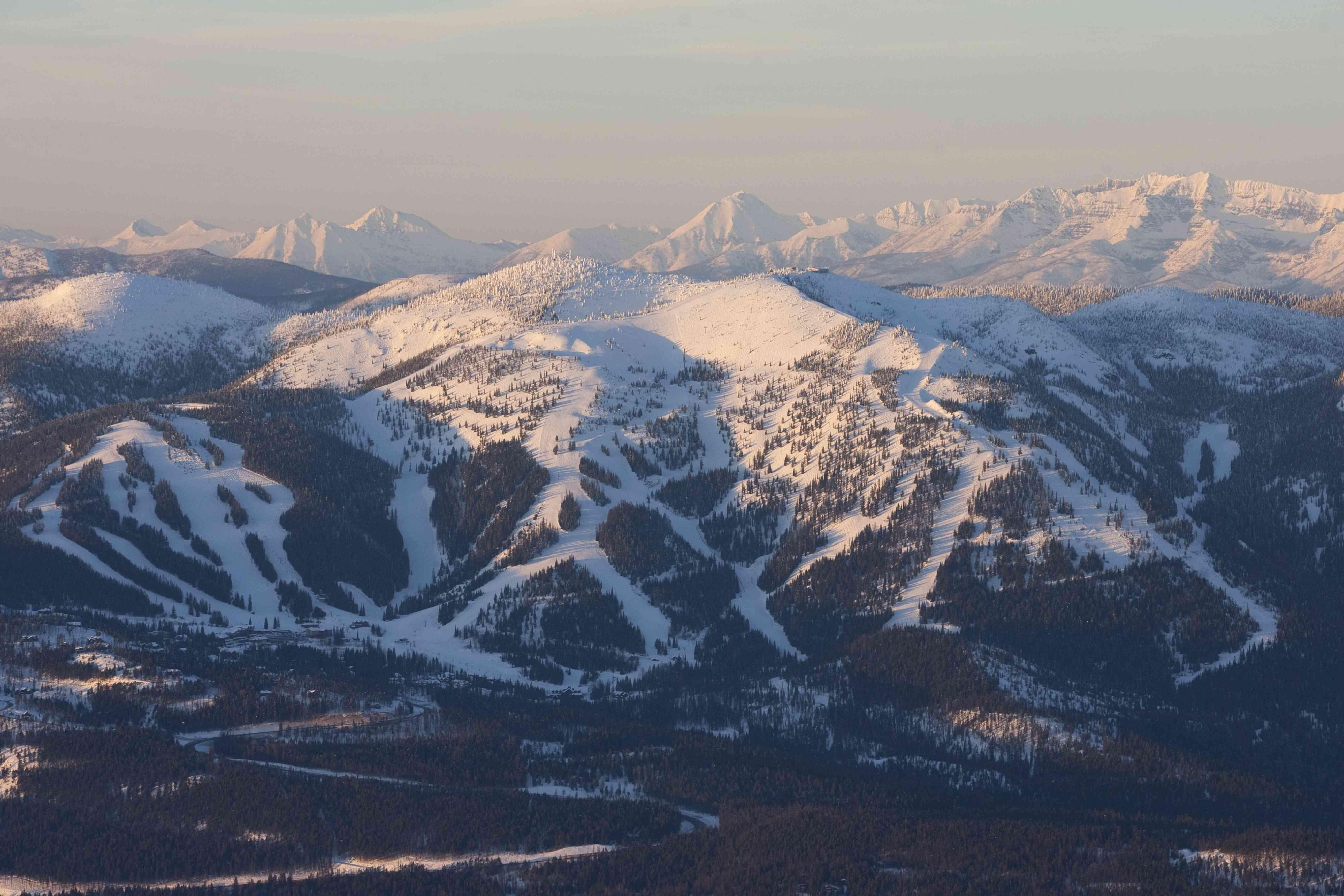 Whitefish Mountain at sunset.