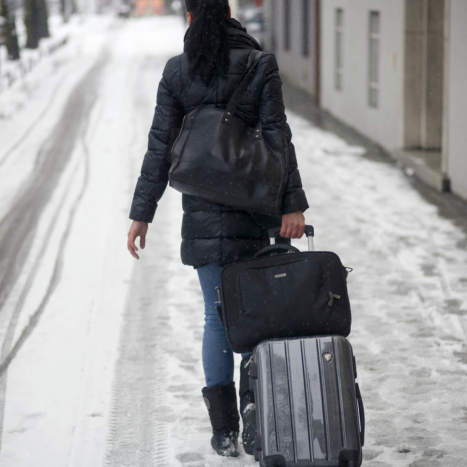 Suitcase in the snow
