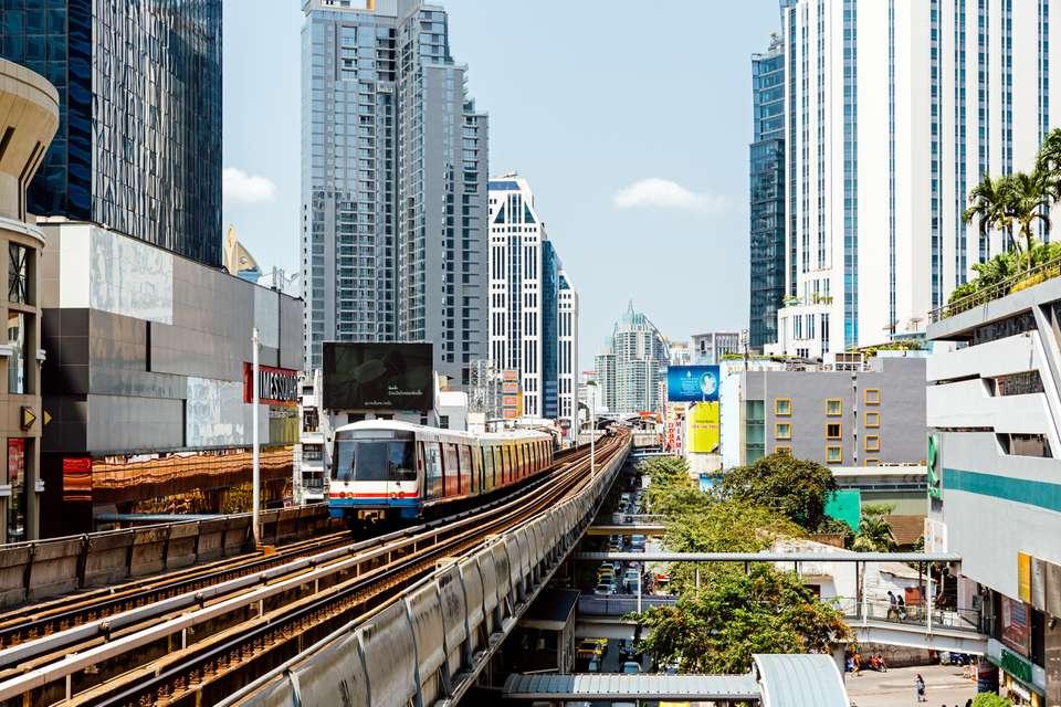 The BTS Skytrain in Bangkok above city traffic