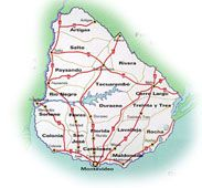 Mapa de carreteras de Uruguay