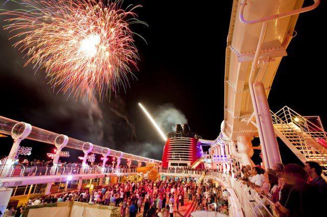 Fireworks on the Disney Fantasy Cruise Ship