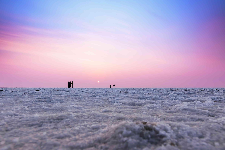 Multicolored sunset landscape silhouette of the Great Rann of Kutch, Gujarat