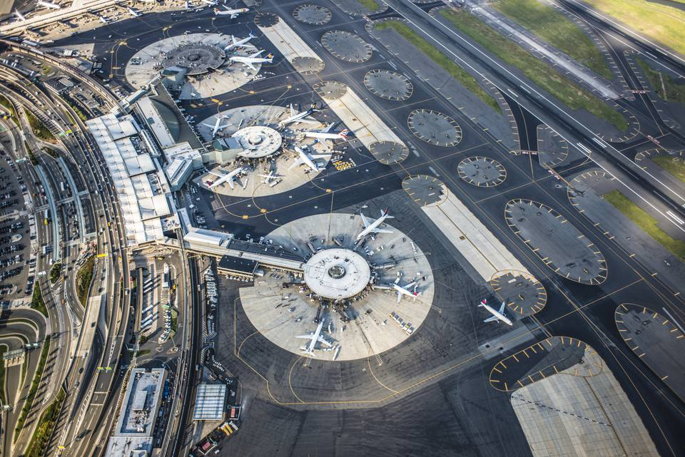 Aerial view of Newark International Airport, Newark, New Jersey