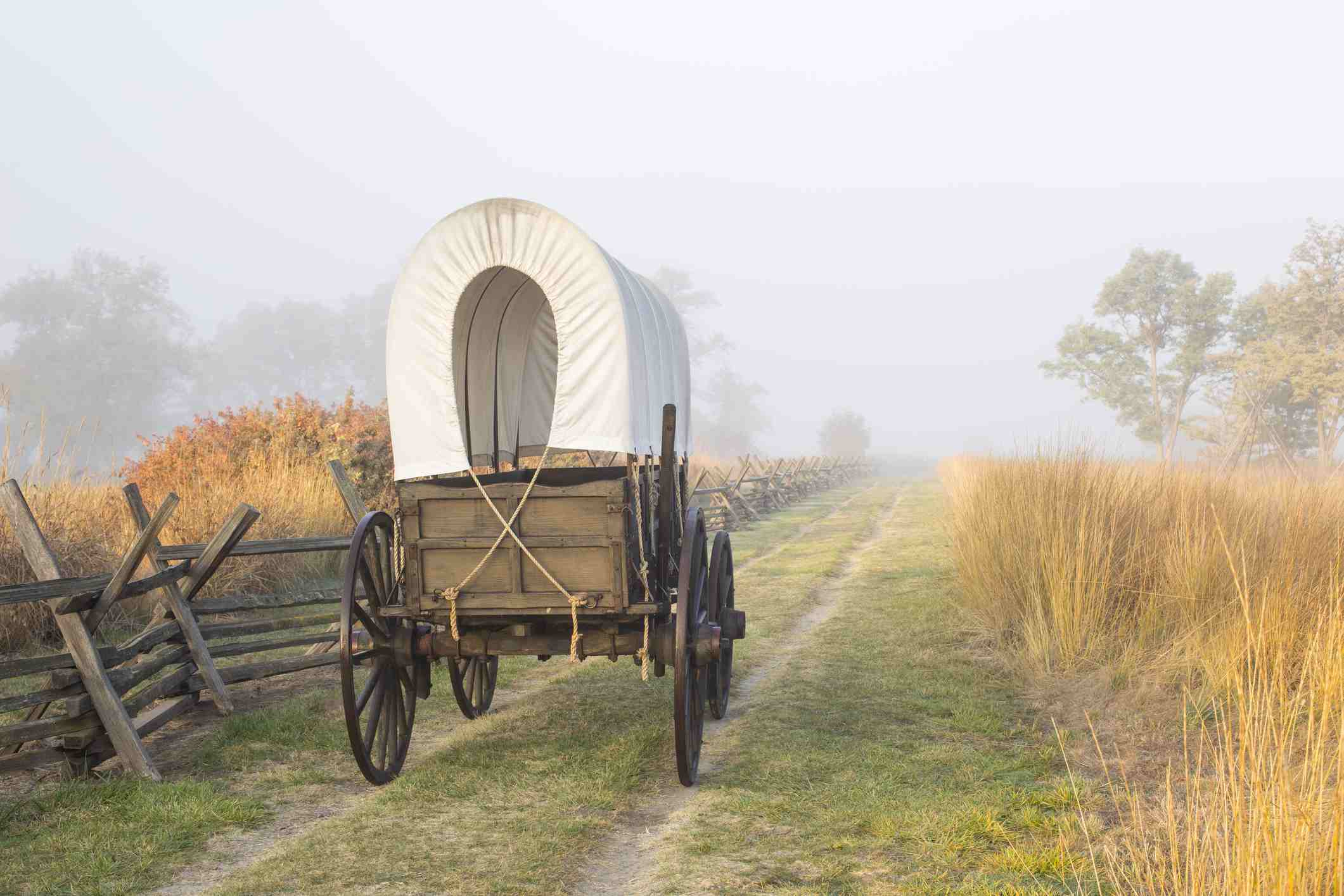 Historic replica wagon along the Oregon Trail at Whitman Mission National Historic Site