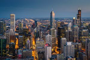 Chicago Cityscape at Night Aerial View