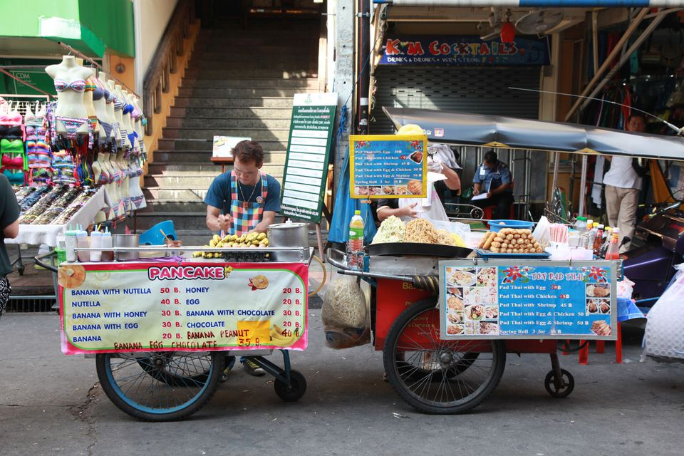 A pancake vendor on Khao San Road in Bangkok, Thailand