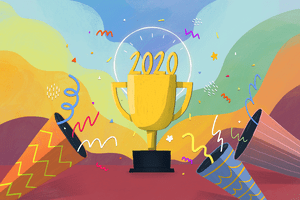 lllustration of a trophy with 2020 on it