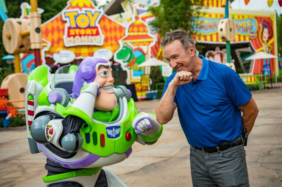 Tim Allen and Buzz Lightyear calls Star Command, during a special preview of Toy Story Land at Disney's Hollywood Studios