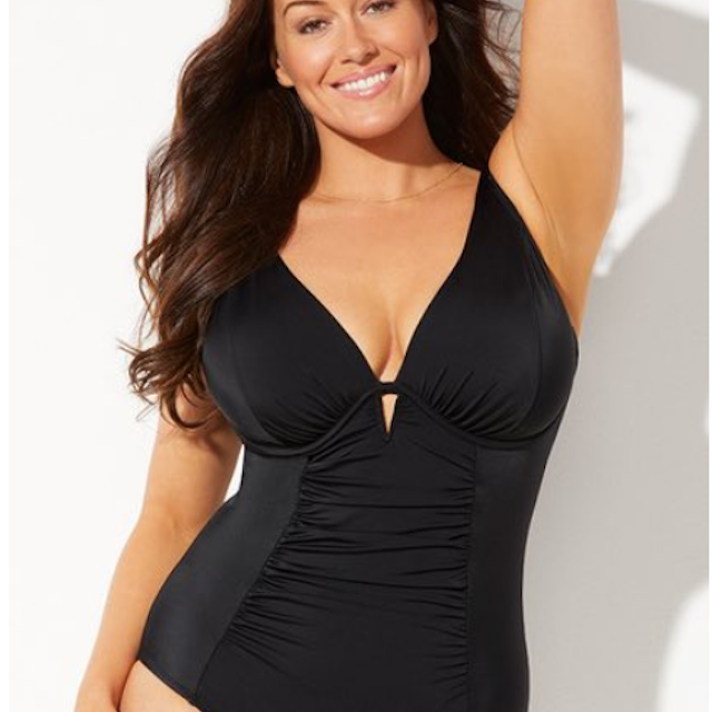 Swimsuits for All Black Shirred Underwire One-Piece Swimsuit