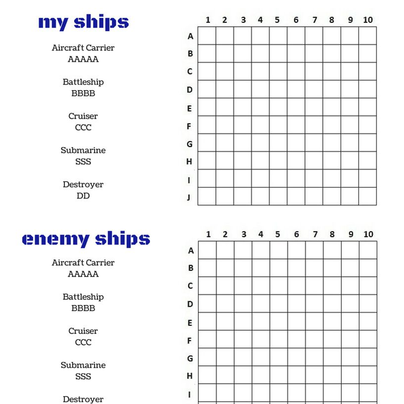 Old Fashioned image in printable battleship