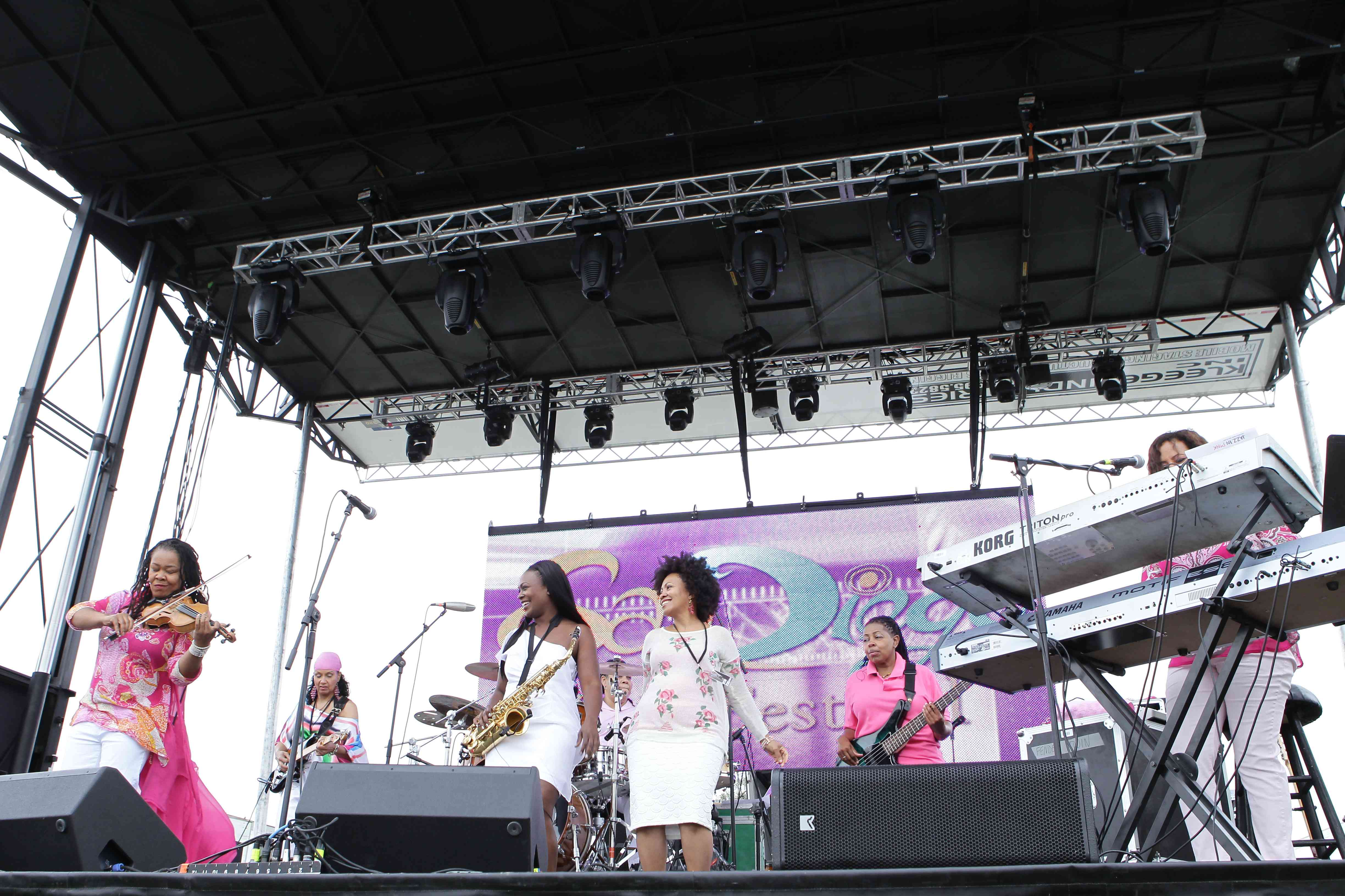 Women perform on stage at the San Diego Jazz Festival.