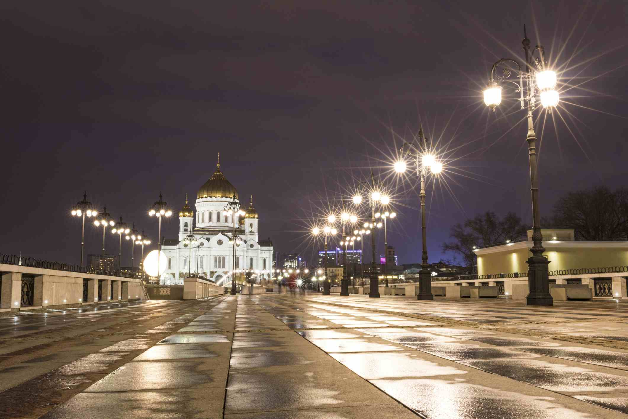 Russia, Moscow, Cathedral of Christ the Saviour after rainfal