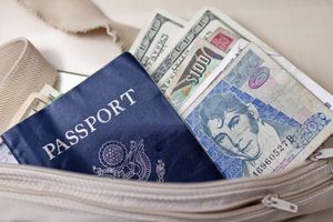 Money belt with cash in various currencies and passport.