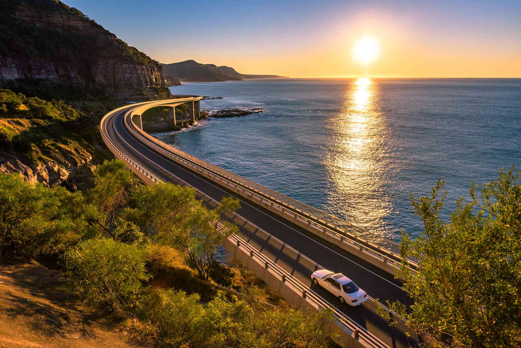 Sunrise over Wollongong Sea Cliff Bridge, New South Wales