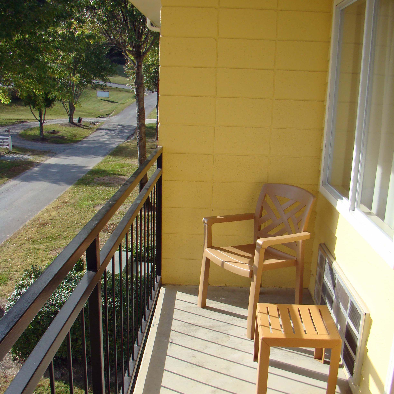 Budget hotel balcony near Great Smoky Mountains Park
