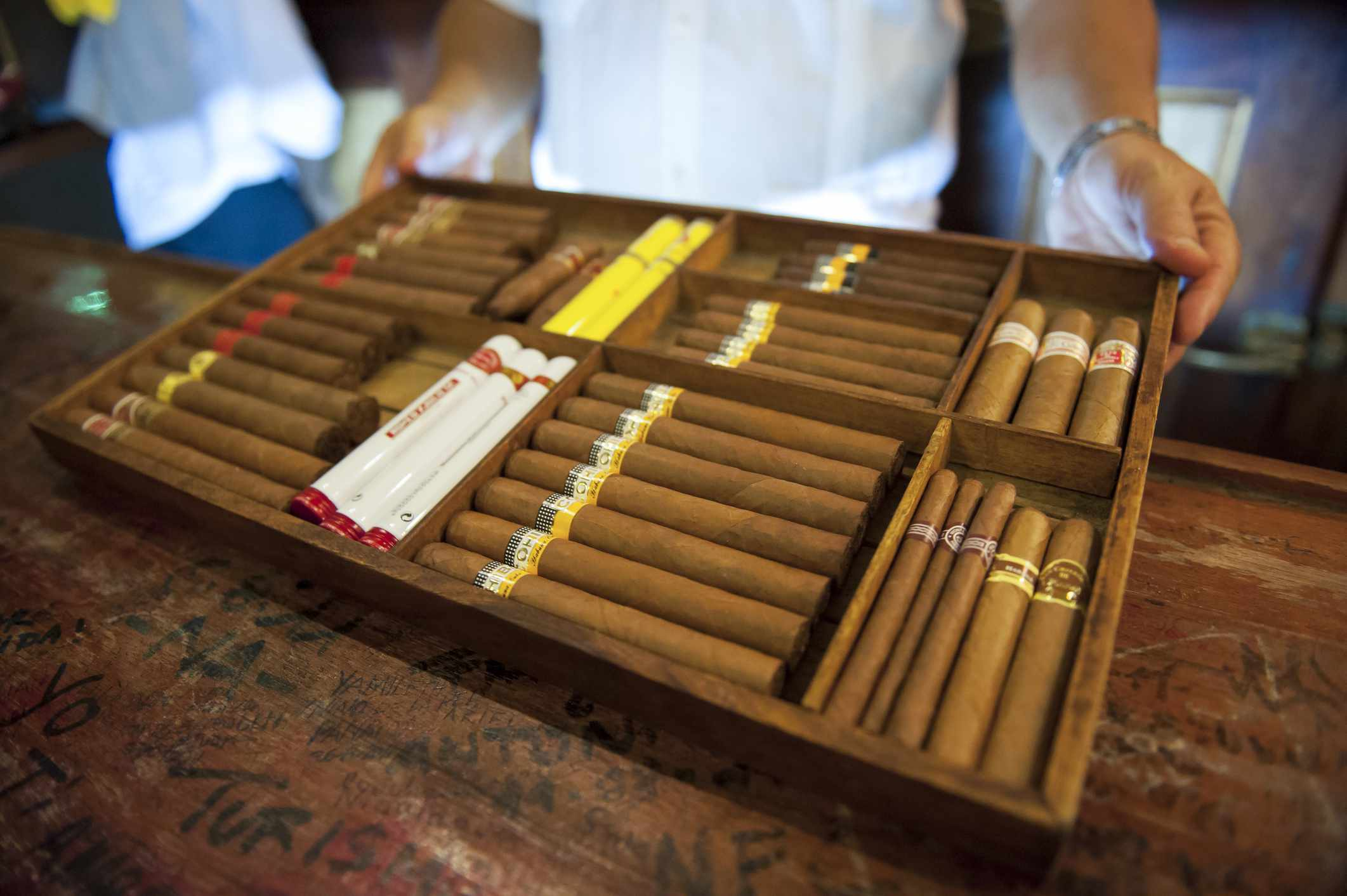 Cigars for sale at a cigar bar