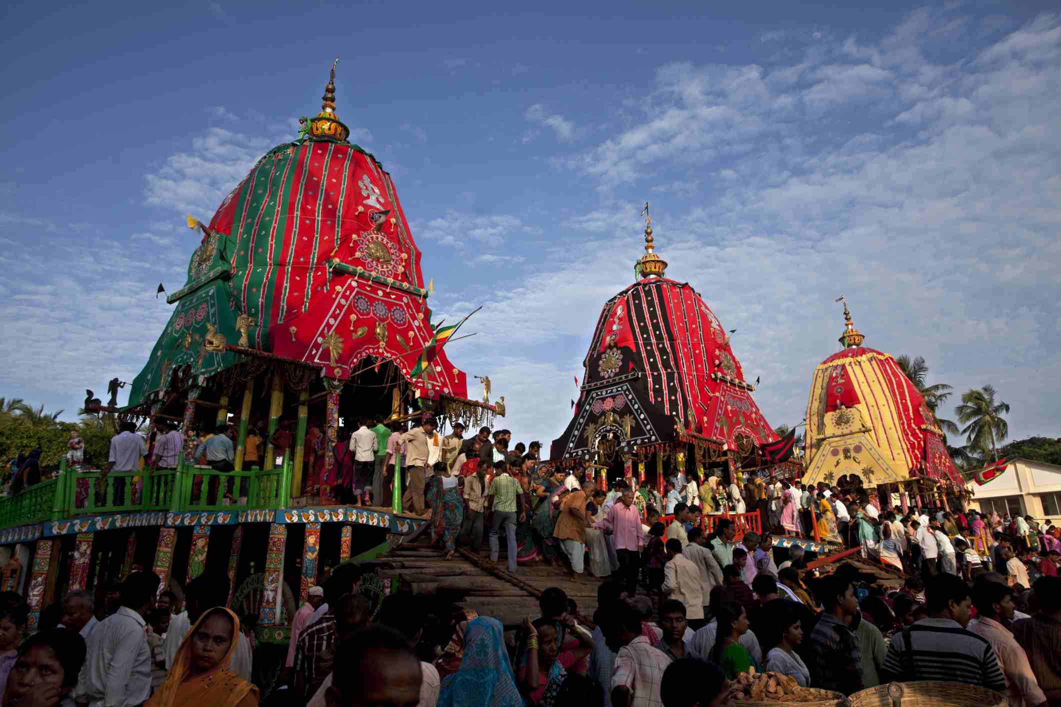 Peregrinos en el Puri Rath Yatra