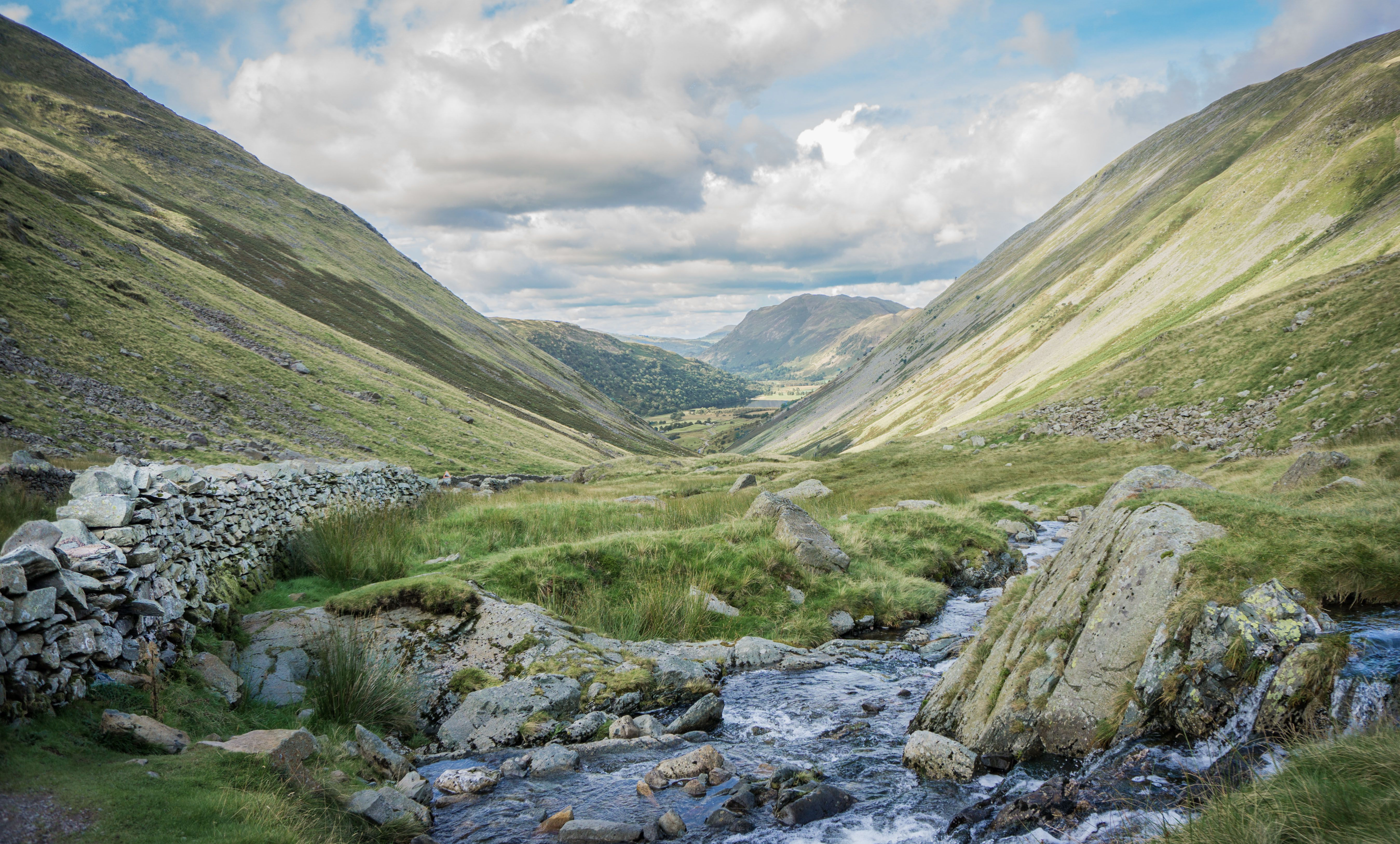 Scenic View Of Kirkstone Pass Against Cloudy Sky