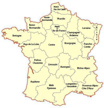 Regions In France Map.Regional Map Of France Europe Travel