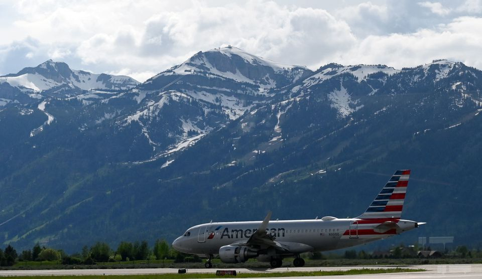 American Airlines on the tarmac at off from Jackson Hole Airport in Grand Teton National Park