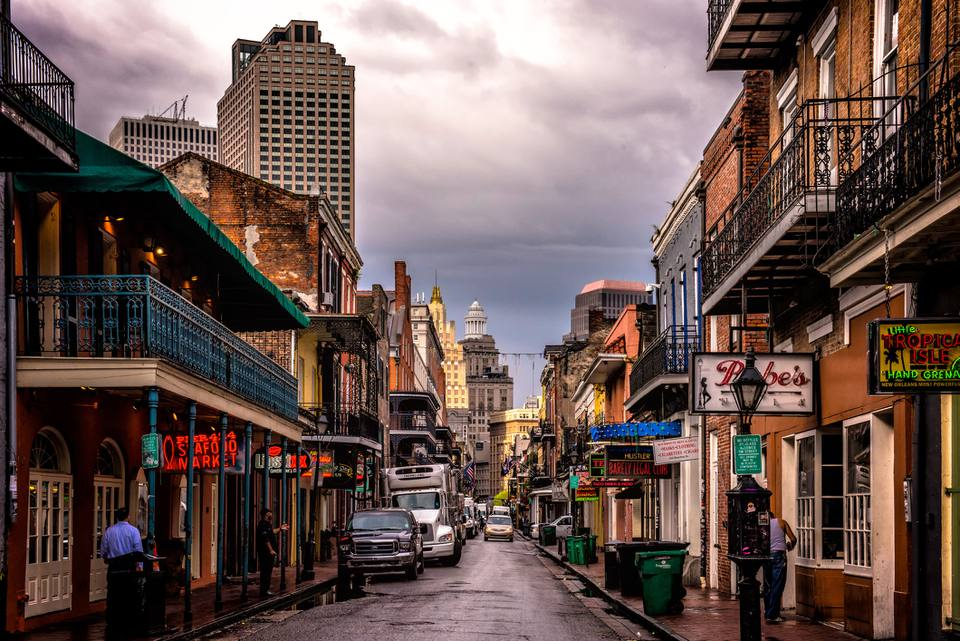 New Orleans street on a cloudy day