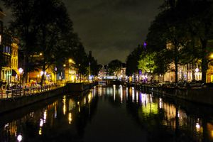 Amsterdam lit up at night