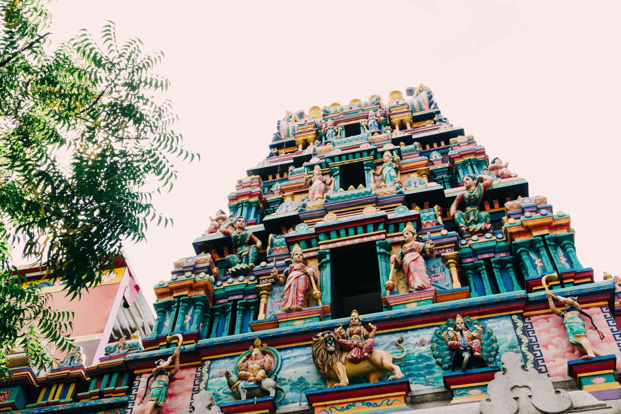low angle view of Highly decorated exterior of Mariamman Hindu Temple, Ho Chi Minh City, Vietnam
