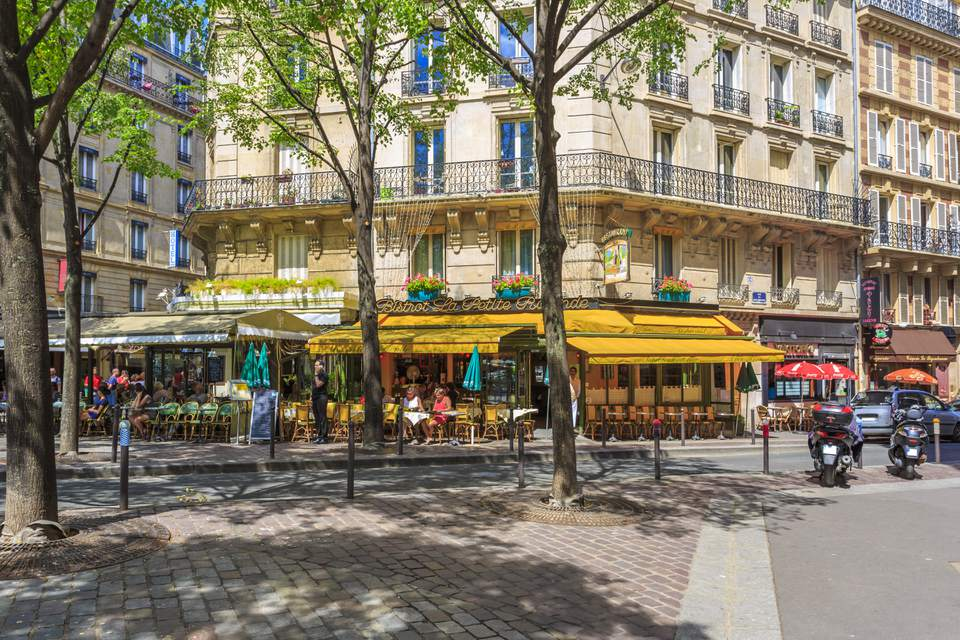 Montparnasse, Paris: cafes on a sunny street