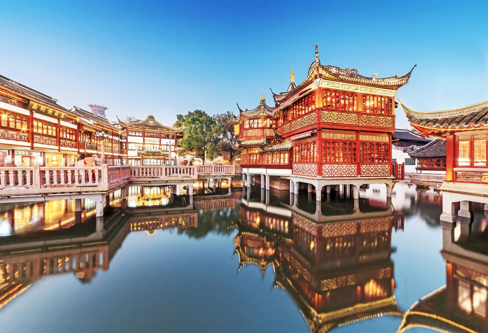 Night view of Yu Garden in Shanghai