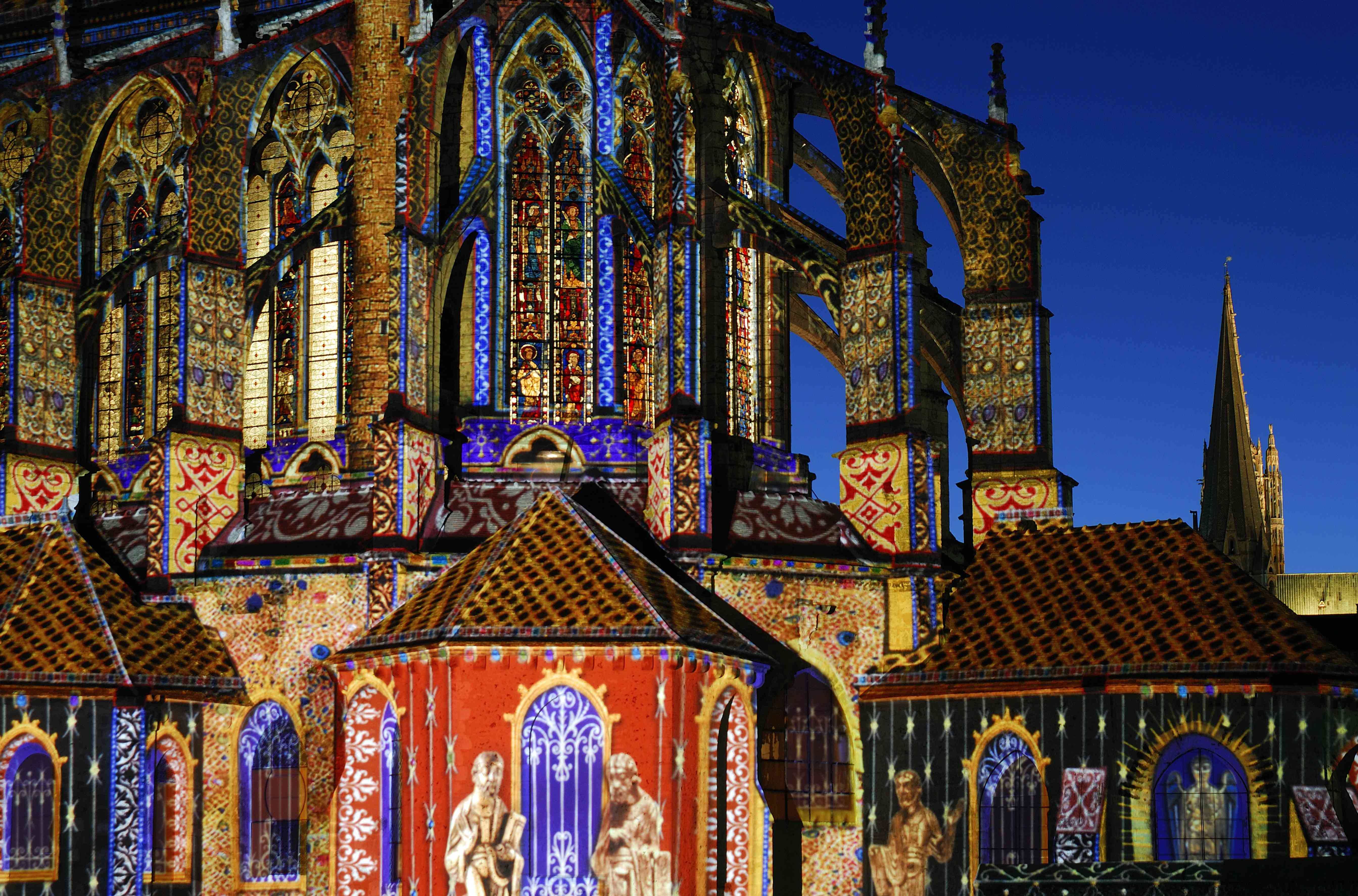 Chartres Cathedral, illuminated for a special event.