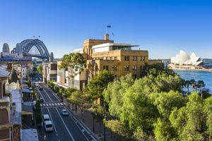Aerial view along George Street, The Rocks, Sydney