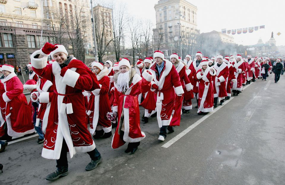 Hundrends of people gathered in Kiev's city centre celebrating Christmas by dressing as Santa Claus