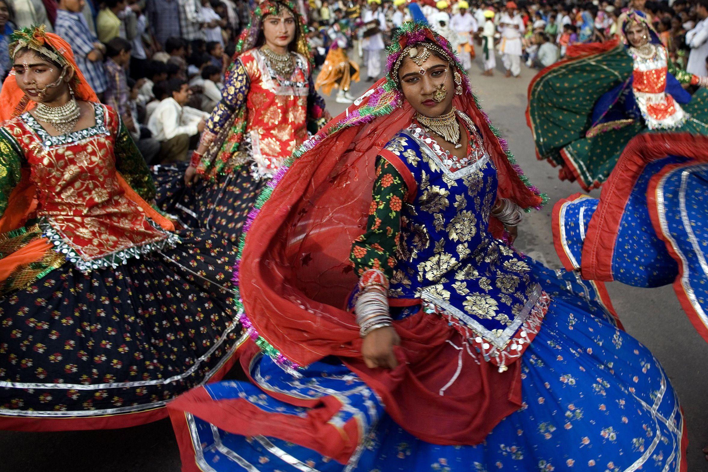 Teej festival parade.